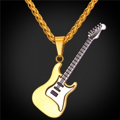 Punk Rock Guitar Pendant Necklace 18k Gold Plated Stainless Steel Hiphop Women Men Jewellery 18k Gold Plated one size