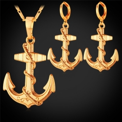 Anchor Jewellery Sets For Women 18k Gold Platinum Plated Necklace Earrings Sets 18k gold plated one size