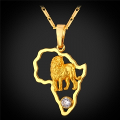 Africa Map Lion Pendant Necklace 18k Gold/Platinum Plated Cubic Zirconia Animal Jewellery 18k Gold Plated one size