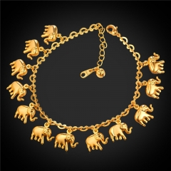 African Elephant Anklet 18k Gold Platinum Plated Foot Bracelet Summer Lucky Beach Jewellery 18k gold plated one size