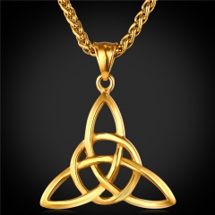 Pendant Necklace Triple Horn Of Odin Wiccan Symbols Stainless Steel 18k Gold Plated Jewellery 18k Gold Plated