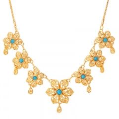 Vintage Necklace Turquoise Stone 18k Real Gold Plated Flower Necklace Women Statement Jewellery gold plated 45cm+5cm(adjustable)