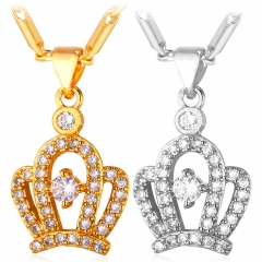 Crystal Crown Necklace Pendant 18k Gold/Platinum Plated Zirconia Pendant Women Jewellery Gift gold plated 50cm+5cm(adjustable)