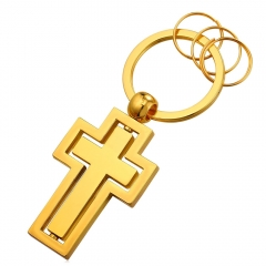 Double Cross Key Pendant 18K Gold/Platinum/Black Gun Plated Key Holder Christ Key Jewellery Yellow Gold Plated