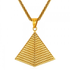 Egyptian Pyramids Pendant Necklace Gold Plated Stainless steel Necklace Women Men Jewellery yellow gold plated