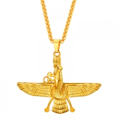Faravahar Ahura Mazda Pendant Men Iran Jewelry Stainless Steel Zoroastrian Iranian Necklace Women 18k gold plated 50+5cm