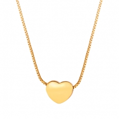 Little Heart Clavicle Chain 18k Gold Plated Necklace Women 316L Stainless Steel Love Jewelry 18k gold plated one size