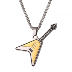 Guitar Pendant Stainless Steel Music Jewelry Men Retro Hippie Music Notation Necklace mult-tone one size