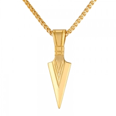 Pharaoh Spear Pendant Sword Spear of Odin Stainless Steel Retro Arrow Spear Necklace 18k gold plated one size