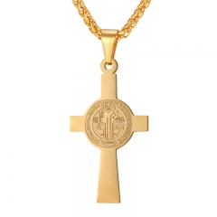 Cross Pendant Men Stainless Steel Medalla de San Benito Necklace Women Saint Benedict Medal Jewelry yellow gold plated one size