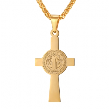 Kilimall cross pendant men stainless steel medalla de san benito cross pendant men stainless steel medalla de san benito necklace women saint benedict medal jewelry yellow aloadofball Gallery
