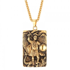 St Michael Pendant Stainless Steel Necklace Taxiarch Archangel Michael Men 18k Gold Plated Jewellery 18k gold plated one size