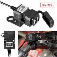 Waterproof Dual USB 12V Motorcycle Handlebar Charger Socket w/ Switch & Mounts black