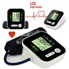 Automatic Blood Pressure Monitor Upper Arm Digital BP Machine With Large Cuff black