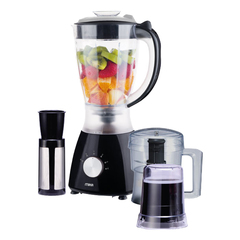 3 in 1 Blender, 1.5L, 400W, With Grinder, Chopper & Stainless Steel Filter black