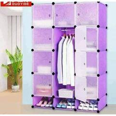 Portable 3-Column Plastic Wardrobes Purple
