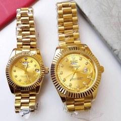 ROLEX COUPLE SET WATCH FOR COUPLES-Rolex DayDate Watch-Golden-GOLDEN golden with gold face normal