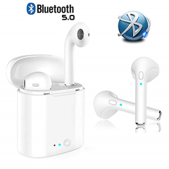 i7S Bluetooth Earphones Wireless Earbuds iPhone Samsung Android Pods airpods stereophone headphones white