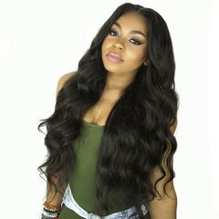 RichRipple Wigs mid-large wave fluffy long roll wig ladies headgear Black 72cm black 72cm