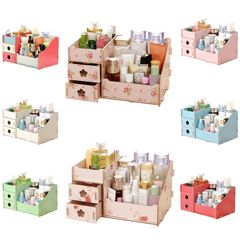 Durable Wooden Jewelry Box DIY Handmade Makeup Storage Case Large Cosmetic Holder Make Up Organizer colorfull(big size)--29*19.7*17.3cm