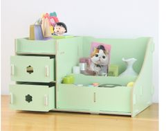 Durable Wooden Jewelry Box DIY Handmade Makeup Storage Case Large Cosmetic Holder Make Up Organizer green(big size)--29*19.7*17.3cm
