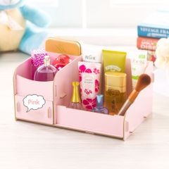 Durable Wooden Jewelry Box DIY Handmade Makeup Storage Case Large Cosmetic Holder Make Up Organizer Pink(small size)-21*16*11cm