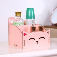 Cat Wooden Storage Box DIY Office Pen Jewelry Skin Care Lipstick  Remote Cotrol Storage Organizer pink