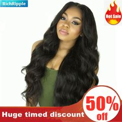 RichRipple Wigs Caps mid-large wave fluffy long roll wig ladies headgear Black 72cm black 72cm
