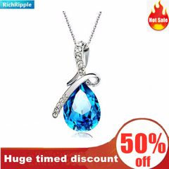 RichRipple Romantic Angel's Tear Women Necklace Blue Crystal Pendant blue normal
