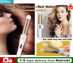 RichRipple Electric 2in1 Hair Roller Thermostat Wet and Dry Curling Stick Straight Hair Curler Gold 2in1