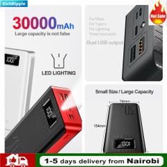 Power Bank 30000mAh TypeC Micro USB QC Fast Charging Powerbank LED Display For phone tablet Red 30000mah