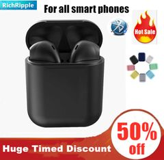 i12 TWS Macaronian Popup Airpods Bluetooth Earphones Wireless iPhone Samsung Android pods Headphone Black