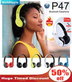 RichRipple P47 Wireless Headphones Bluetooth Headset With TF Radio Mic 3.5 jack pin for IOS/Android white