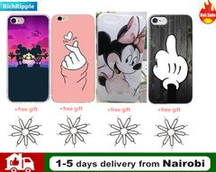 For iPhone 6 6S 6Plus Case Cover Apple iPhone 7 7Plus 8 8Plus Cute Minnie Silicone Phone Coer Case Pink iPhone 7/8