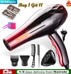 Blow-Dryers 2200W 220V Hair Dryer Large Power Low noise Salon Professional Hair Blow Dryer 11pcs/set as the picture one size