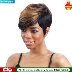 RichRipple Women Short Stright Hair Wigs Fashion With Slanted Bang Wigs Black and Gold Mixed 26cm Color mixing normal
