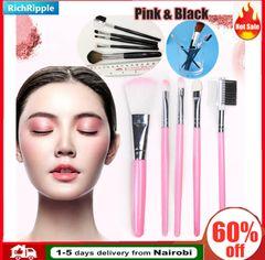 5pcs/set Pink Makeup Brush Foundation Powder Blush Eyeshadow Concealer Lip Eye Cosmetics Beauty Tool Pink(pvc bag with longer handle)