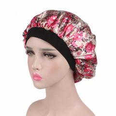 RichRipple Soft Silk Hair Bonnet with Wide Band Comfortable Night Sleep Hat Hair Loss Cap pink