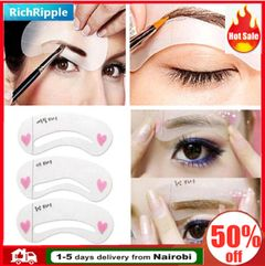 3 styles/Pack Reusable Eyebrow Stencils DIY Makeup Tools Eyebrow Drawing Guide Card   Eyebrow card white