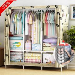 3 Columns DIY Non-woven Folding Wardrobe Bedroom Furniture Simple Modern Dustproof Storage Cabinet Flower