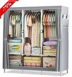 3 Columns DIY Non-woven Folding Wardrobe Bedroom Furniture Simple Modern Dustproof Storage Cabinet Grey