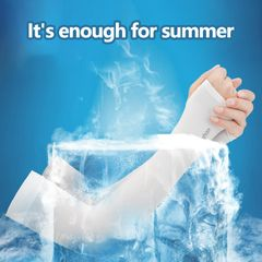 New Outdoor Ice Silk Sleeves Breathable Quick Dry UV Sunscreen Cuff Cycling Long Arm Sleeves Summer White one size