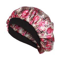 Cap for Women Soft Silk Hair Bonnet with Wide Band Comfortable Night Sleep Hat Hair Loss Cap PINK