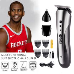 Men Hair Clipper Cutting Waterproof Wireless Electric Beard Nose Ear Shaver Hair Trimmer Razor Kits As picture one size