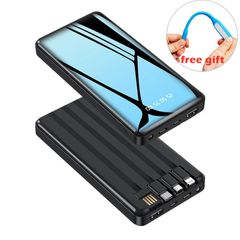 4-Wire Large Capacity iPhone Power Bank 10000mAh Fast Charging Portable for all Phones Charge Black 10000mAh