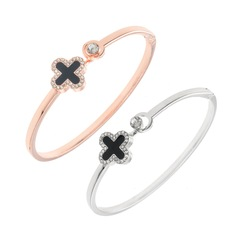 Fashion Please Recall That Lucky Clover Bracelet Green Rose Gold Bracelet Wild Popular Open Bracelet Rose gold black one size