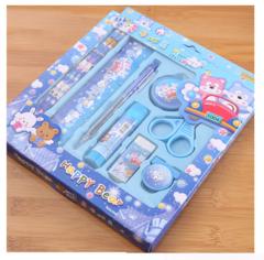Children's Birthday Gift Creative Stationery Set Student School Supplies Sets blue nine-piece sets
