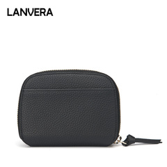 Female 2019 new Korean version of the short wallet leather wallet female head layer Niupiqia bag black 13*10*2