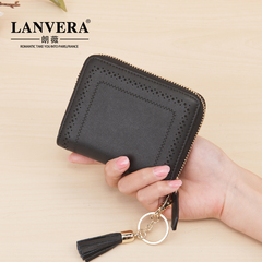 Bag girl 2019 new cowhide Tassel short wallet fashion hollow leather long hand bag zero wallet black 12.5*2.9.5