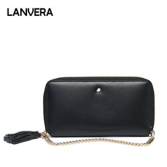 Longview 2019 New European and American long-time multi-bit wallet wholesale leather hand bag black 18.5*2*9